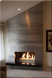 floor to ceiling brushed aluminum fireplace surround modern surround f36 modern