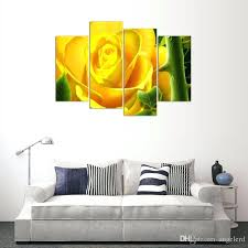 yellow canvas wall art 4 panel yellow flower painting canvas wall art picture home decoration living room canvas print modern painting from yellow canvas
