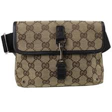 gucci luggage. gucci fanny pack monogram gg silver hardware vintage brown travel bag luggage