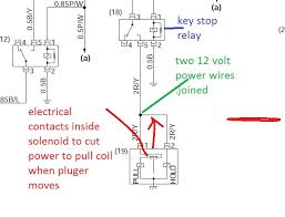 agco tractor keeps burning up fuel shutoff soleniod page 2 Fuel Shut Off Solenoid Wiring Diagram the internal contacts are pointed to by the red line the two tiny dots are the two pull in coil switch contacts and the bar between them with the push pull kubota fuel shut off solenoid wiring diagram