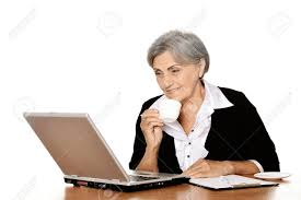 Image result for free photos of elderly female typing on computer