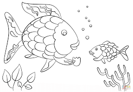 the rainbow fish gives a precious scale to small fish coloring pages to view printable version