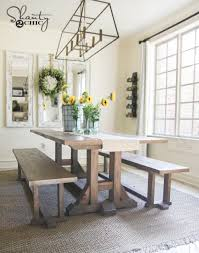 pottery barn style dining table: free furniture plans diy dining table farmhouse style by shantychic