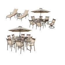 bali 23 piece cast aluminum outdoor dining set and umbrella
