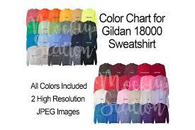 Color Chart For Gildan 18000 Sweatshirt Digital Color Chart