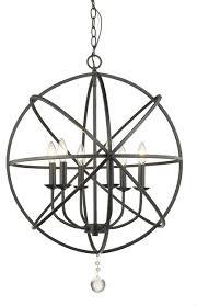 tull 6 light chandelier orb matte black