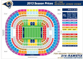 Edward Jones Dome Seating Chart Football St Louis Rams Seating Chart Edward Jones Dome Seating