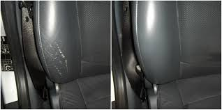 the scuffs in this leather car bolster have been repaired and recoloured using our complete leather repair kit
