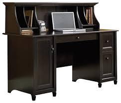 sauder edge water computer desk and hutch set in estate black transitional desks and black computer desks