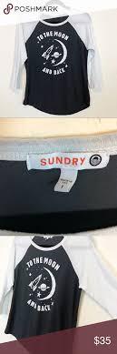 Sundry Raglan Tee Graphic 3 4 Length Top Size S 1