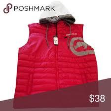 Ecko Unltd Mens Red Zip Up Hoodie Puffer Vest Size Chart