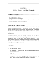 Memo Report Example Business Communication Report Writing Sample Business