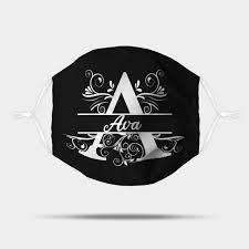 Personalized Name Monogram Set - A - Ava White - Ava - Mask | TeePublic
