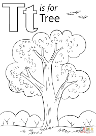 Letter T is for Tree coloring page | Free Printable Coloring Pages