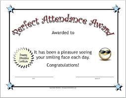 Sample Awards Certificate Printable Perfect Attendance Awards Certificate Award
