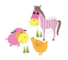 baby farm animals clip art. Wonderful Art Baby Farm Animals Clipart Cute Animal Bright Colors Horse Pig Sh  Inside Clip Art R