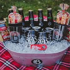 large beer gift basket in a tub