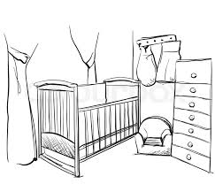 baby s room furniture. Hand Drawn Children Room. Furniture Sketch. Baby Bed, Vector S Room