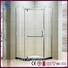 semi framed corner shower screen with pivot door with stainless steel handle hinge