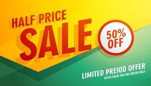 Half Price Sale Banner Poster Or Flyer Template Design Download