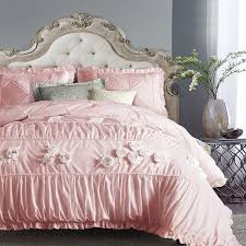 noble excellence blush pink applique rose pattern pintuck ruffle sophisticated elegant girly girls full queen size bedding sets