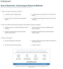 Research Design Worksheet Psychology Quiz Worksheet Psychological Research Methods Study Com