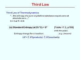 third law third law of thermodynamics the entropy of a pure crystalline substance equals zero