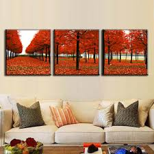 3 pcs set framed autumn landscape red maple avenue painting prints on canvas modern maple tree wall picture for hotel decor in painting calligraphy from  on autumn tree set of 3 framed wall art prints with 3 pcs set framed autumn landscape red maple avenue painting prints