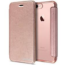 rose gold leather case for iphone 7 plus clear back chrome leather flip case cover