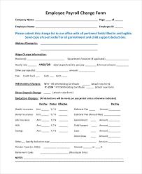 Payroll Sheet Samples Free 10 Sample Payroll Change Forms Pdf