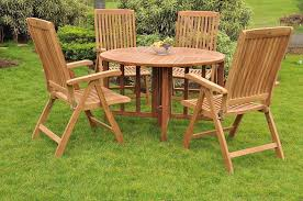 details about marley a grade teak 5pc dining 48 round table 4 reclining folding arm chair new