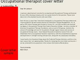 School Occupational Therapist Cover Letter Sarahepps Com