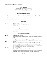 Sample Chronological Order Resume