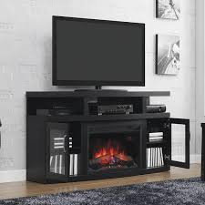 classicflame cantilever 60 inch electric fireplace media console with traditional log set embossed oak