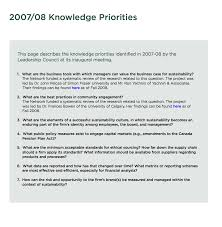 knowledge priorities network for business sustainability 2008