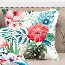 Saro Hibiscus Floral Tropical Print Indoor Outdoor Throw Pillow