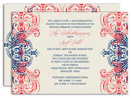 Regal Motif Coral And Navy Indian Wedding Invitation With
