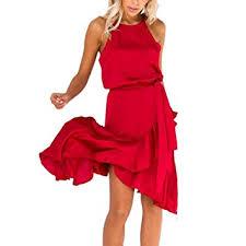 Amazon Com Women Summer Ruffles Dress Cold Shoulder