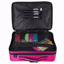 hotrose women professional makeup organizer kit pink cosmetic case large capacity storage bag free disembly suitcases