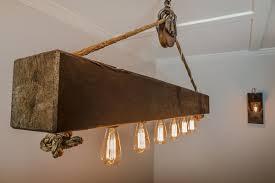 5 rustic wood beam chandelier with edison bulbs
