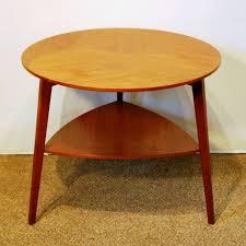 99210 mid century modern round teak end table w shelf circa 1960 sold