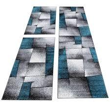 Homebyhome Moderner Kariert Design Konturschnitt Teppich 3tlg