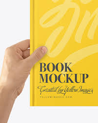 Present your notebook in a stylish and photorealistic way. Book Mockup In Hands In Stationery Mockups On Yellow Images Object Mockups