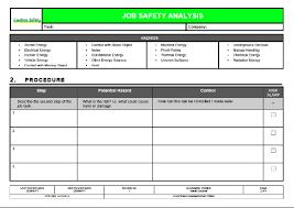 job safety analysis template templates