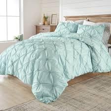 details about blue 3 piece elastic pintuck duvet cover set full size bedding shamcotton blend