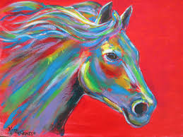 original gorgeous colorful horse expressionist red semi abstract acrylic on 11 x14 canvas