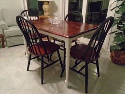 beautiful rustic white farmhouse table black chairs brown stained top painted legs dining room mango wood