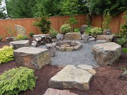 Outdoor Design, Rock Design Fire Pit Exterior Inspiration Outdoor Classic  Circled Fire Pit Seating Rounded