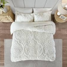 king duvet cover sets park white tufted cotton chenille damask set size next grey super asda