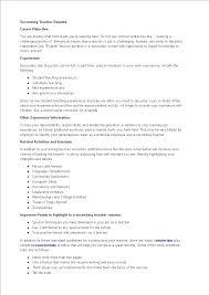 Very Simple Resume Secondary Teacher Resume Templates At